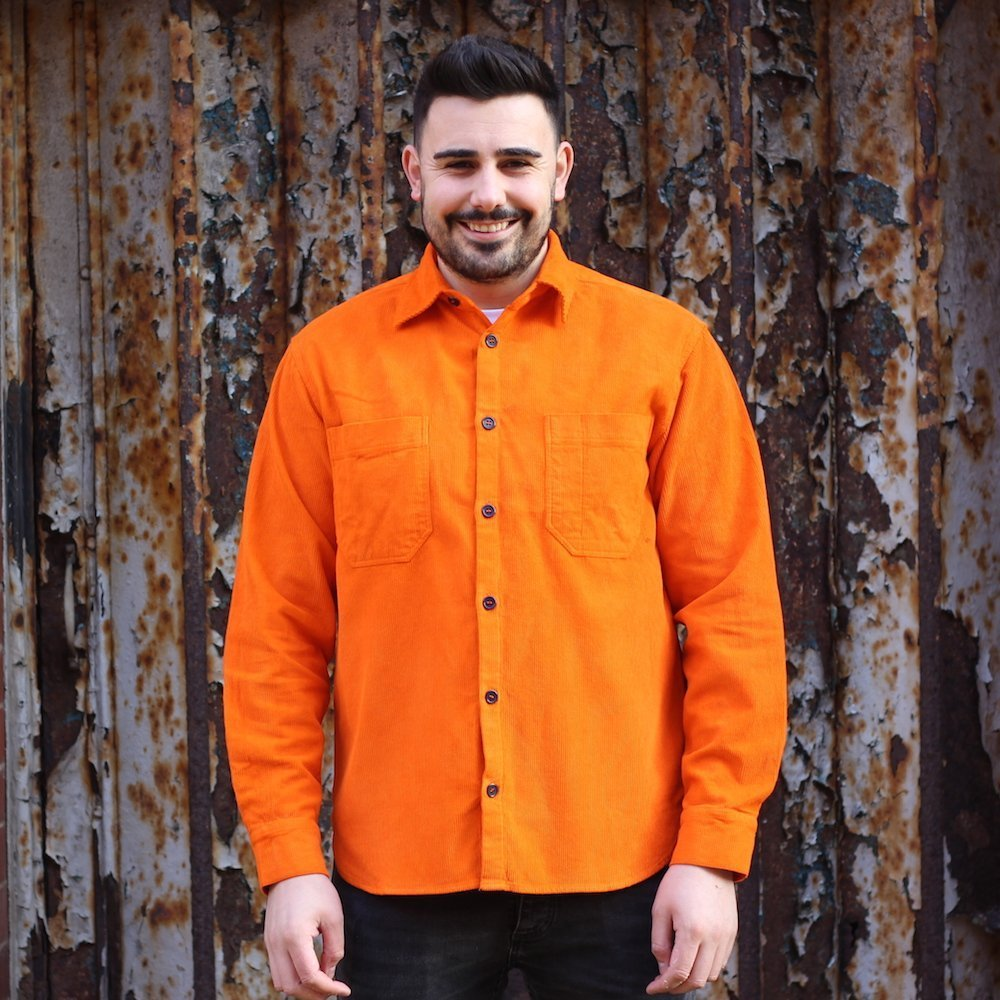 Orange Corduroy Overshirt